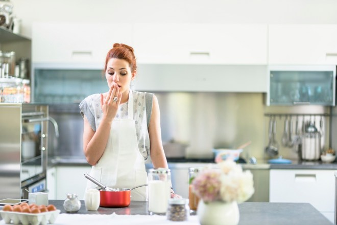 woman in a non gluten-free kitchen