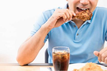 man eating gluten free food